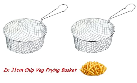 2 x Aqs 21 cm Kitchen Craft – de profundidad verduras Chip Freidora de acero inoxidable