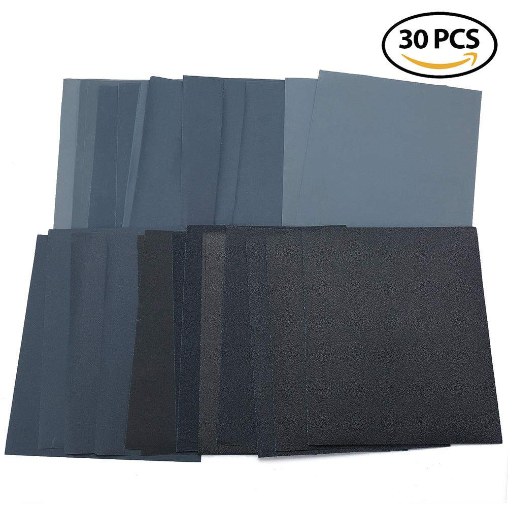 Rantepao Wet Dry Sandpaper 80 Grit Assortment 9x11 Abrasive Paper Sheet Sanding 30Pcs
