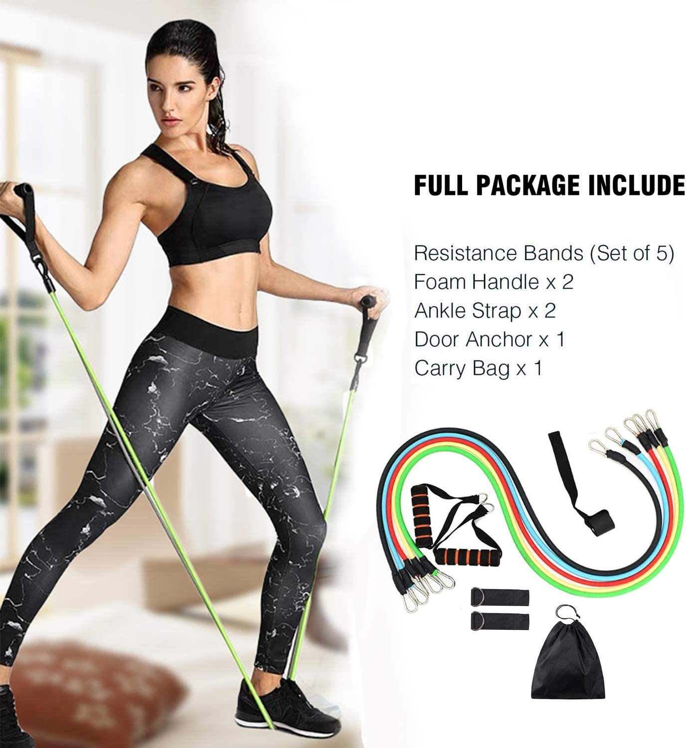 Resistance Bands Set Fitness Exercise Resistance Bands with Door Anchor Legs Ankle Straps for Resistance Training Portable Stackable Exercise Stretch for Men and Women 5 Piece Exercise Bands