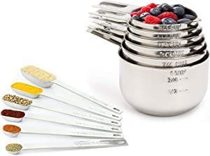 Measuring Cups and Spoons Set by Simple Gourmet. Stainless Steel Measuring Cups and Measuring Spoons Stainless Steel Set of 12. Liquid Measuring Cup or Dry Measuring Cup Set. Stainless Measuring Cups