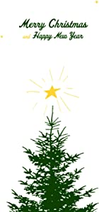 Lark Press Merry Christmas Tree and Star Winter Holiday Card, 4.25
