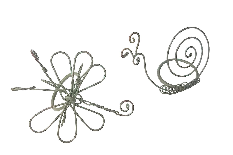 公園デザインセット/ 2ワイヤSnail andドラゴンフライナプキンリングホルダーin Sage Green Finish   B00838WLNU