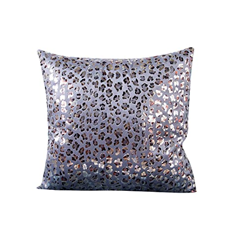 LEEDY - Funda de cojín de Leopardo para sofá de salón o Dormitorio con Cremallera Invisible, 45,7 x 45,7 cm, poliéster, Plateado, Medium