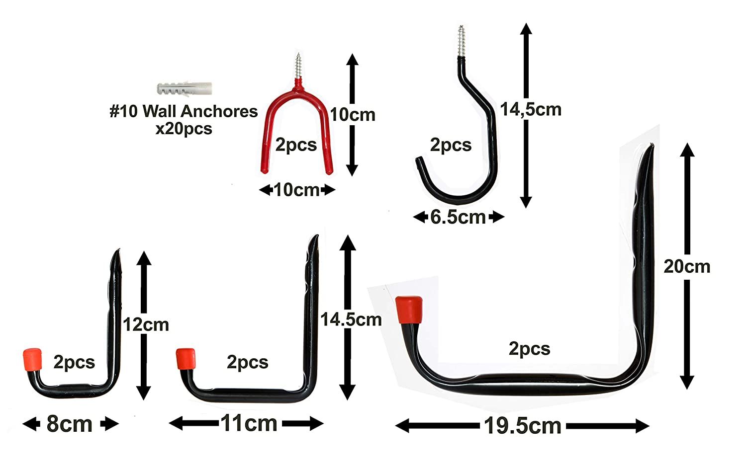 10x Wall-Mounted Garage Hooks 30pc Assortment Set for Home Use Hanging /& Storing Tools Bikes Ladders Garden and Cleaning Equipment in Garages House Shed or Store