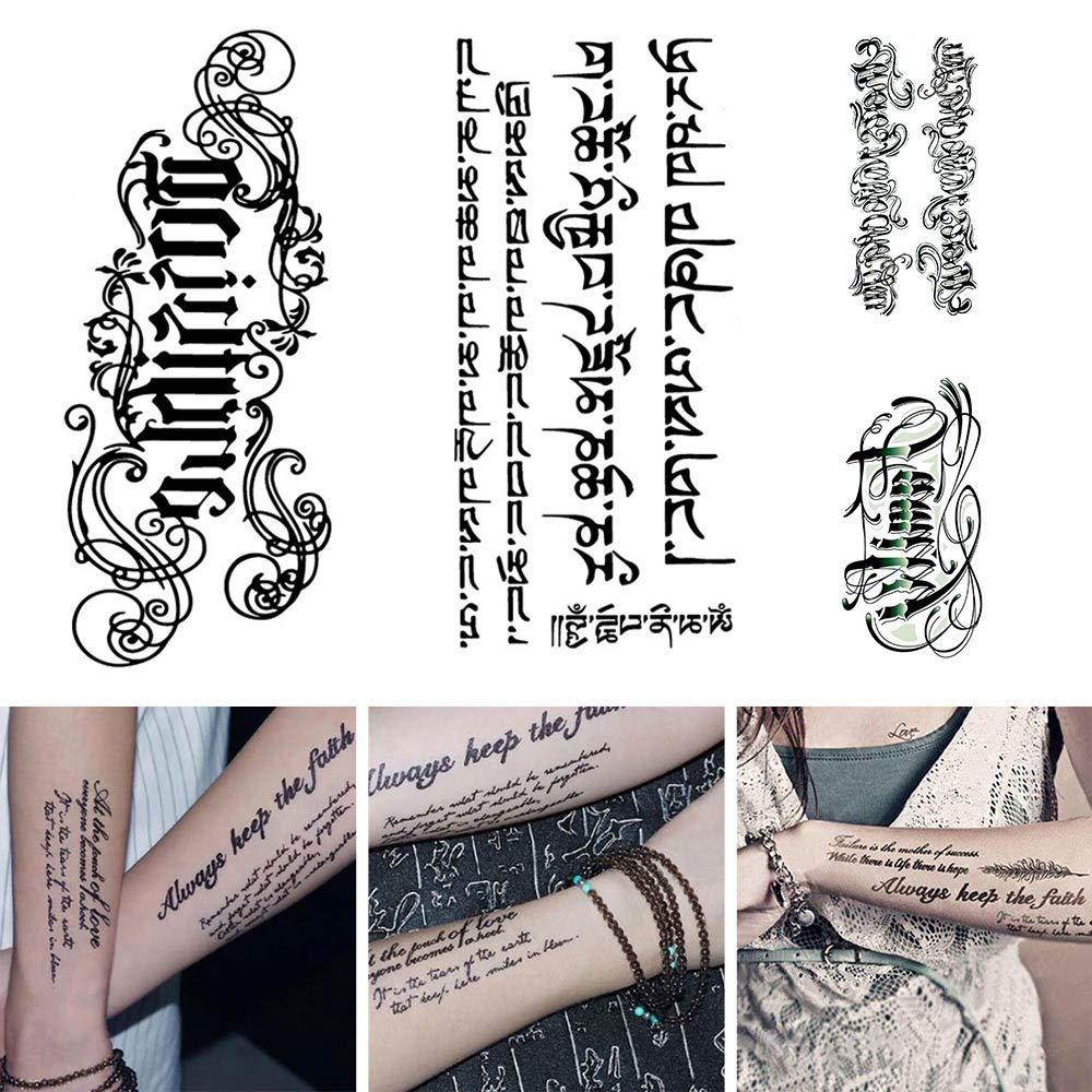 HJDQ Engomada del Tatuaje Temporal - Carta Impermeable Etiqueta ...