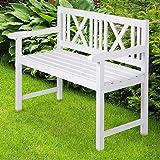 Miadomodo Panca panchina giardino esterno in legno colore bianco ca. 108/85/53 cm