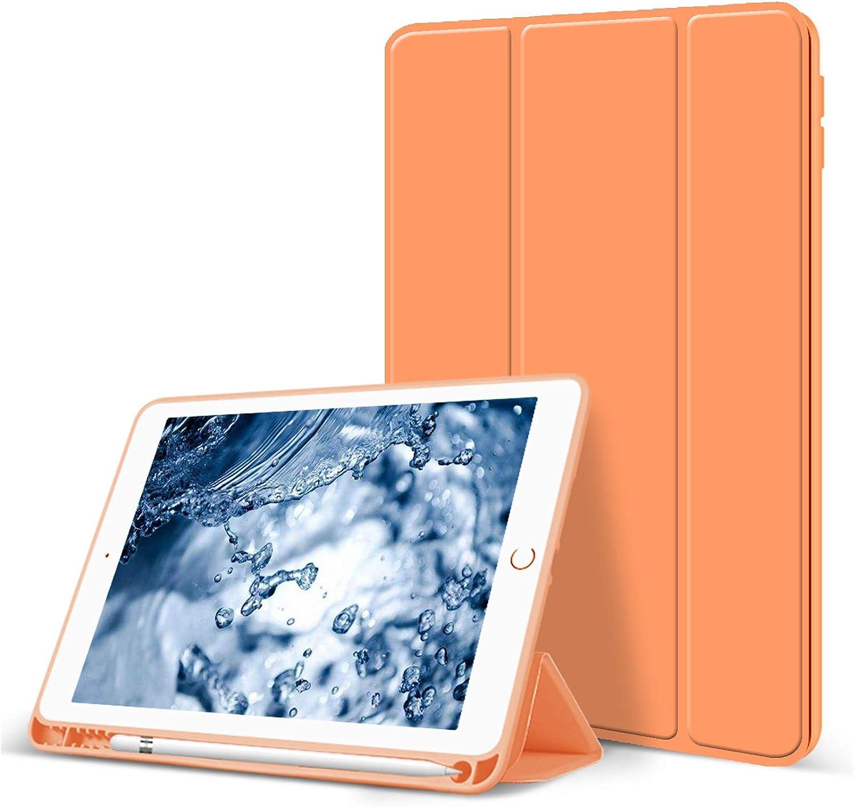 Aoub Case for iPad Mini 5 2019, Auto Sleep/Wake Slim Lightweight Trifold Stand Cover, Soft TPU Back Case with Pencil Holder for Apple iPad Mini 5 7.9 inch, Orange