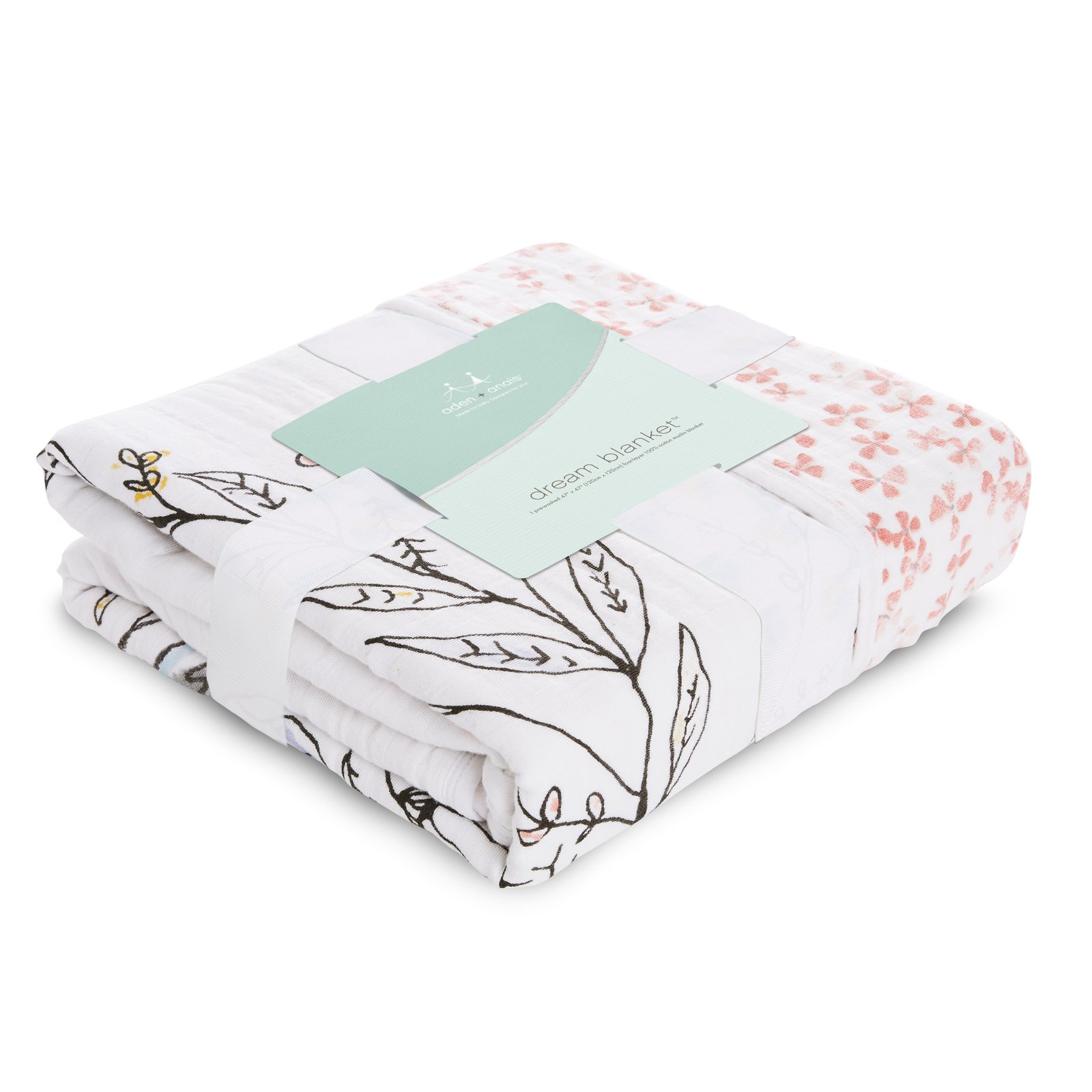 aden + anais Dream Blanket; 100% Cotton Muslin; 4 Layer lightweight and breathable; Large 47 X 47 inch; birdsong - noble nest by aden + anais (Image #2)