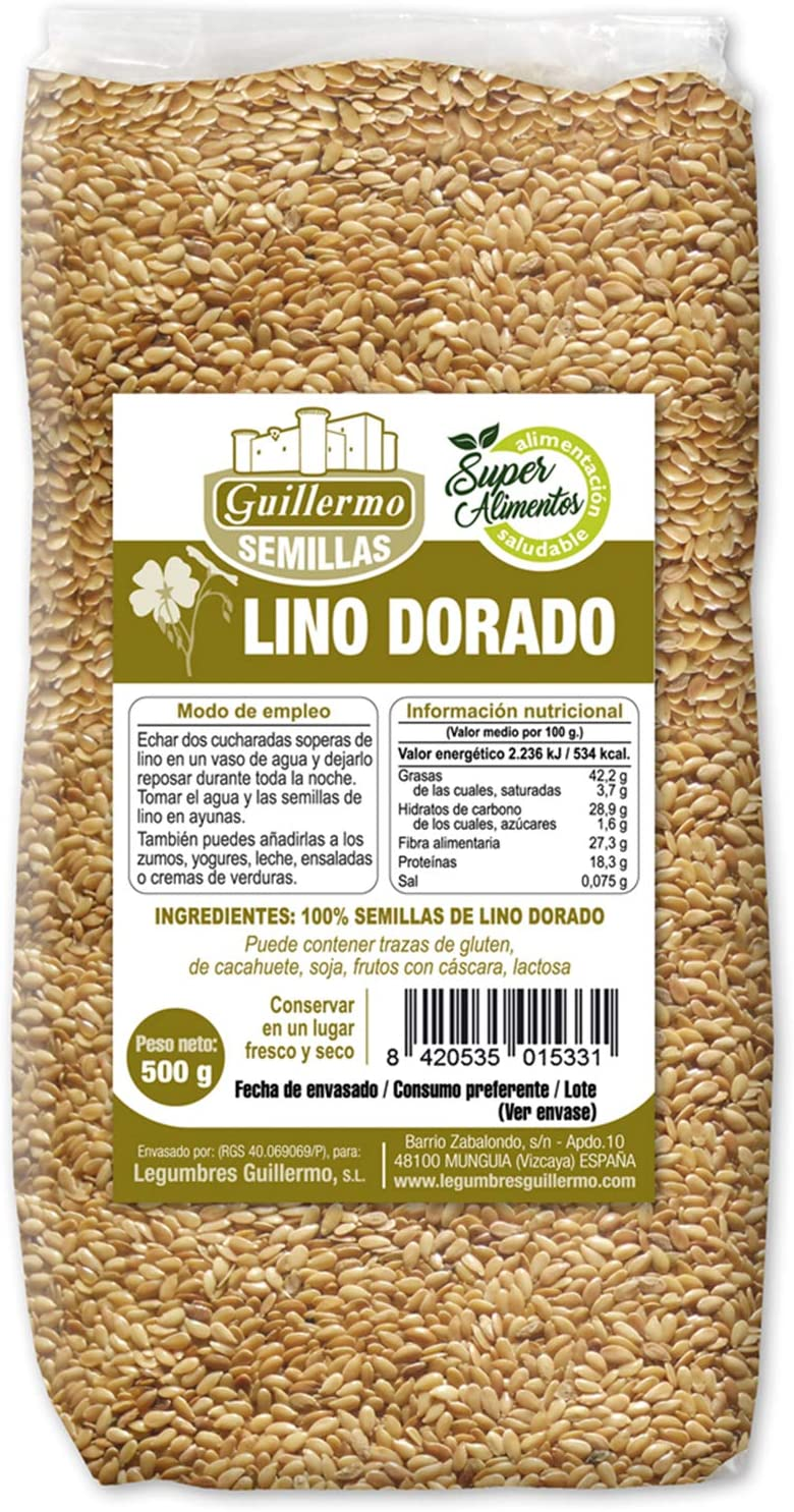 Guillermo Semillas de Lino Dorado Superalimento Linaza 100% Natural 500gr: Amazon.es: Alimentación y bebidas