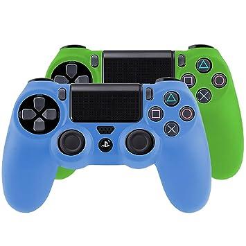 SMARDY Bundle - 2X Funda Cubierta de Silicona para Playstation 4 / PS4 Dualshock 4 Controller Controlador Mandos, Azul + Verde