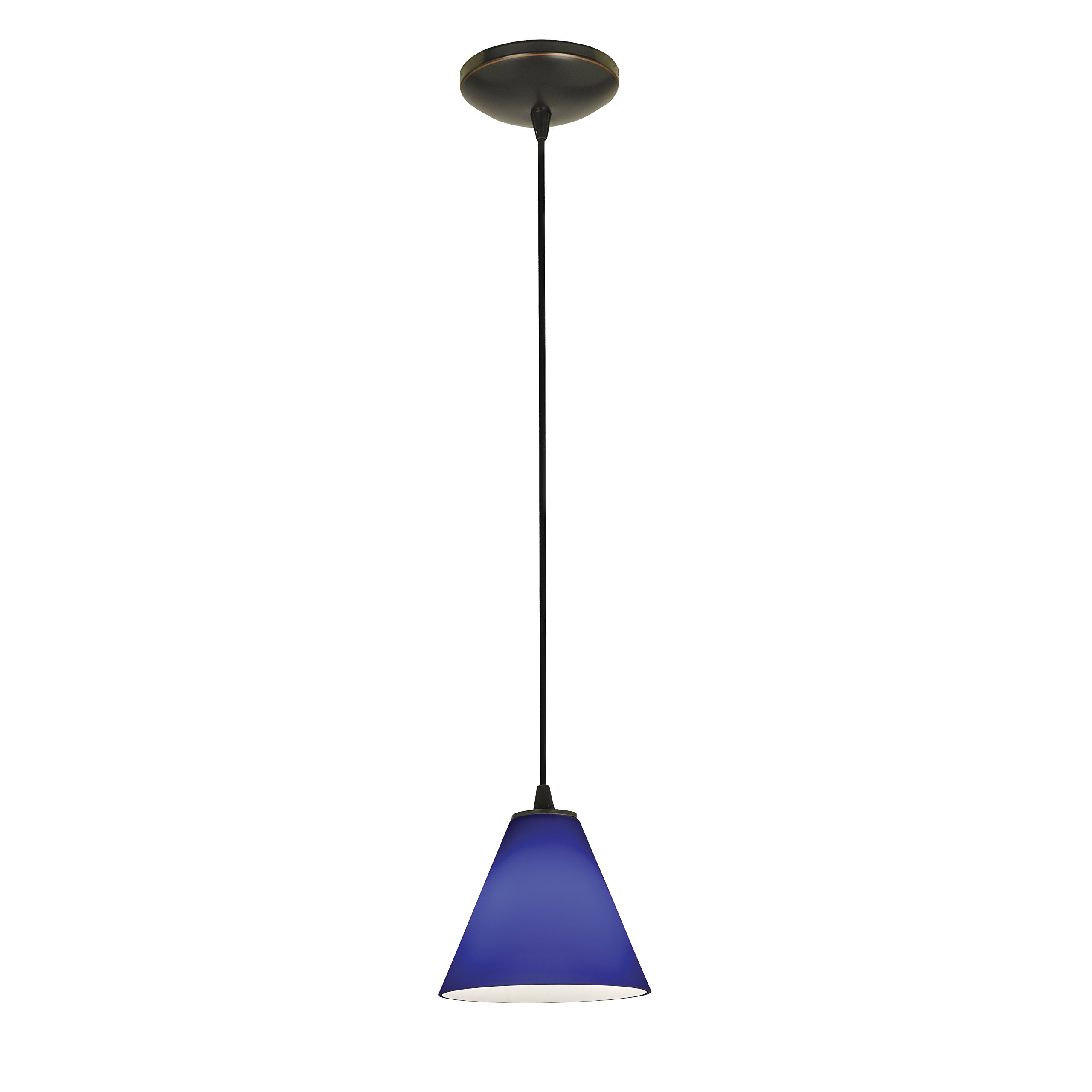 Martini - E26 LED Cord Pendant - Oil Rubbed Bronze Finish - Cobalt Glass Shade