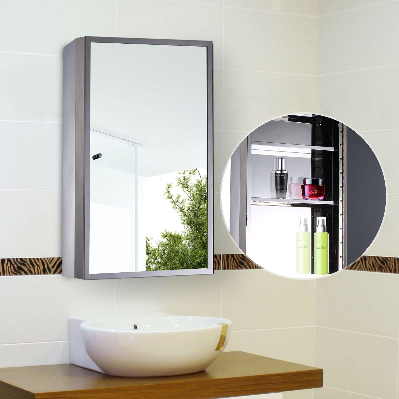 "Amazon.com: HOMCOM Vertical 24"" Stainless Steel Floating Bathroom ..."