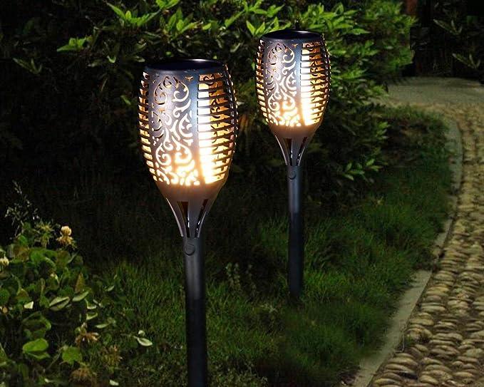 Solar Leuchten Antorchas de jardín jardín iluminación flicke Anillo warmlicht IP65 impermeable Exterior Iluminación decorativa para balcón jardín Ruta Paisaje hofen Césped fahrweg (1er Juego): Amazon.es: Iluminación