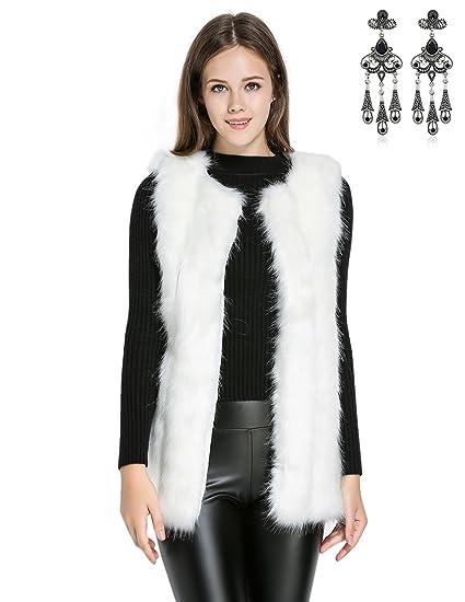carinacoco Donna Cappotto Invernale Gilet di Pelliccia Elegante Faux Fur Senza Maniche Giacchetto Giubbotto Giacca Parka Trench Autunno