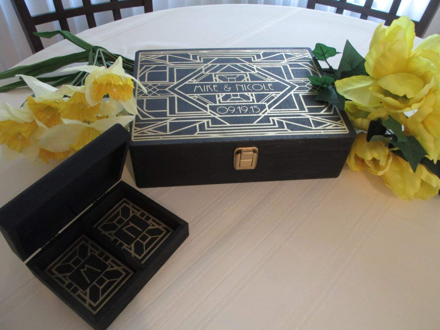Wedding Guest Book and Ring Box Alternatives Engraved Art Deco Gatsby Style Roaring Twenties Personalized Set for 100 guests Item 1683