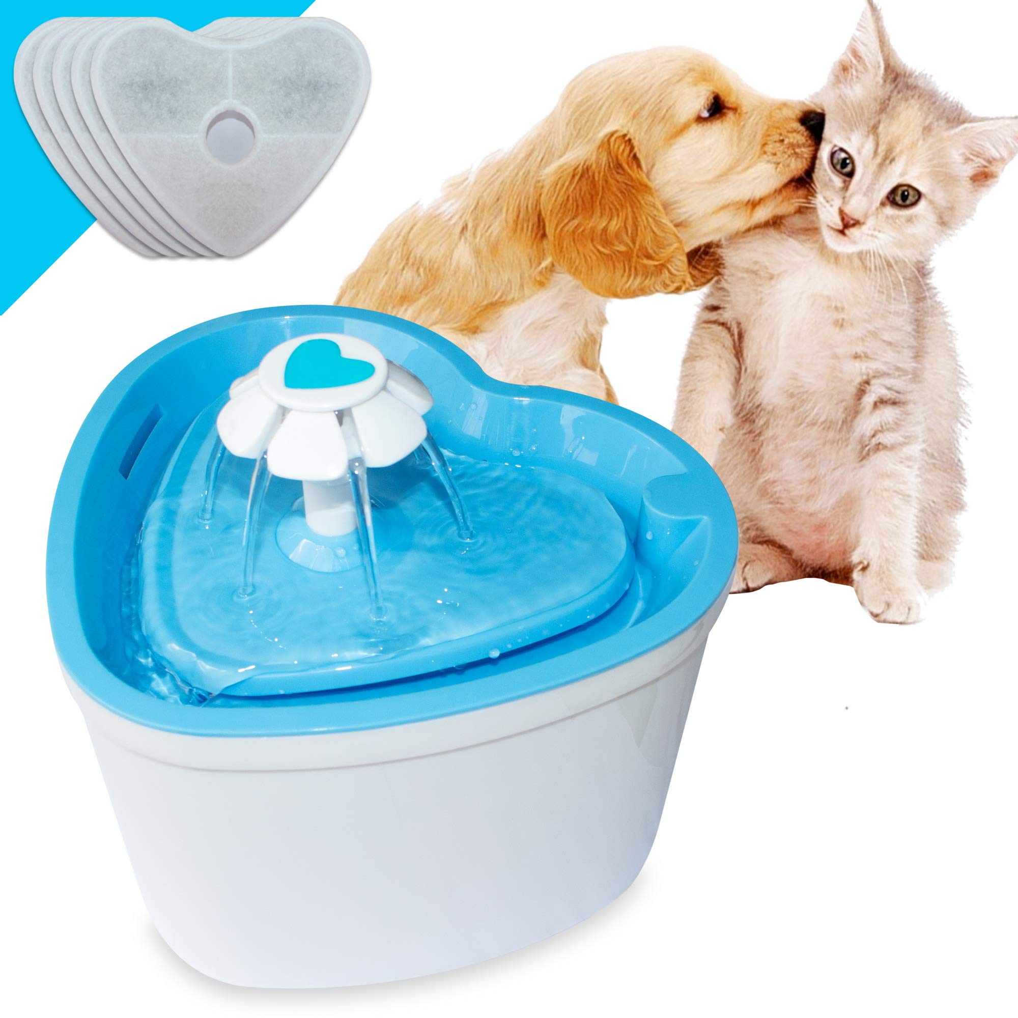 LOVSHARE Pet Water Fountain- Healthy and Hygienic Drinking Fountain 2L Super Quiet Flower Automatic Electric Water Bowl with 4 Replacement Filters for Dogs, Cats, Birds and Small Animals