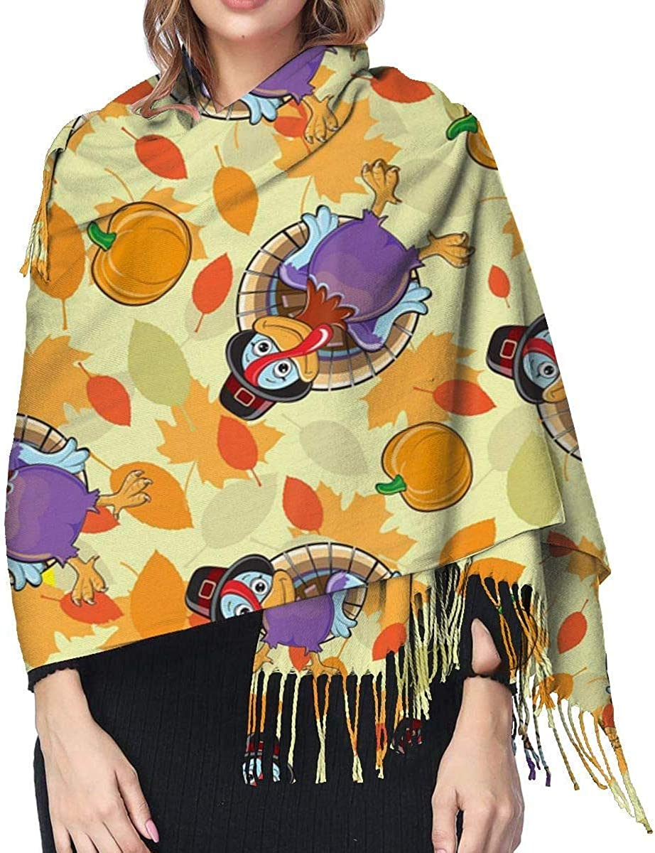 Funny Turkey Pumpkin Cashmere Scarf Shawl Wraps Super Soft Warm Tassel Scarves For Women Office Worker Travel