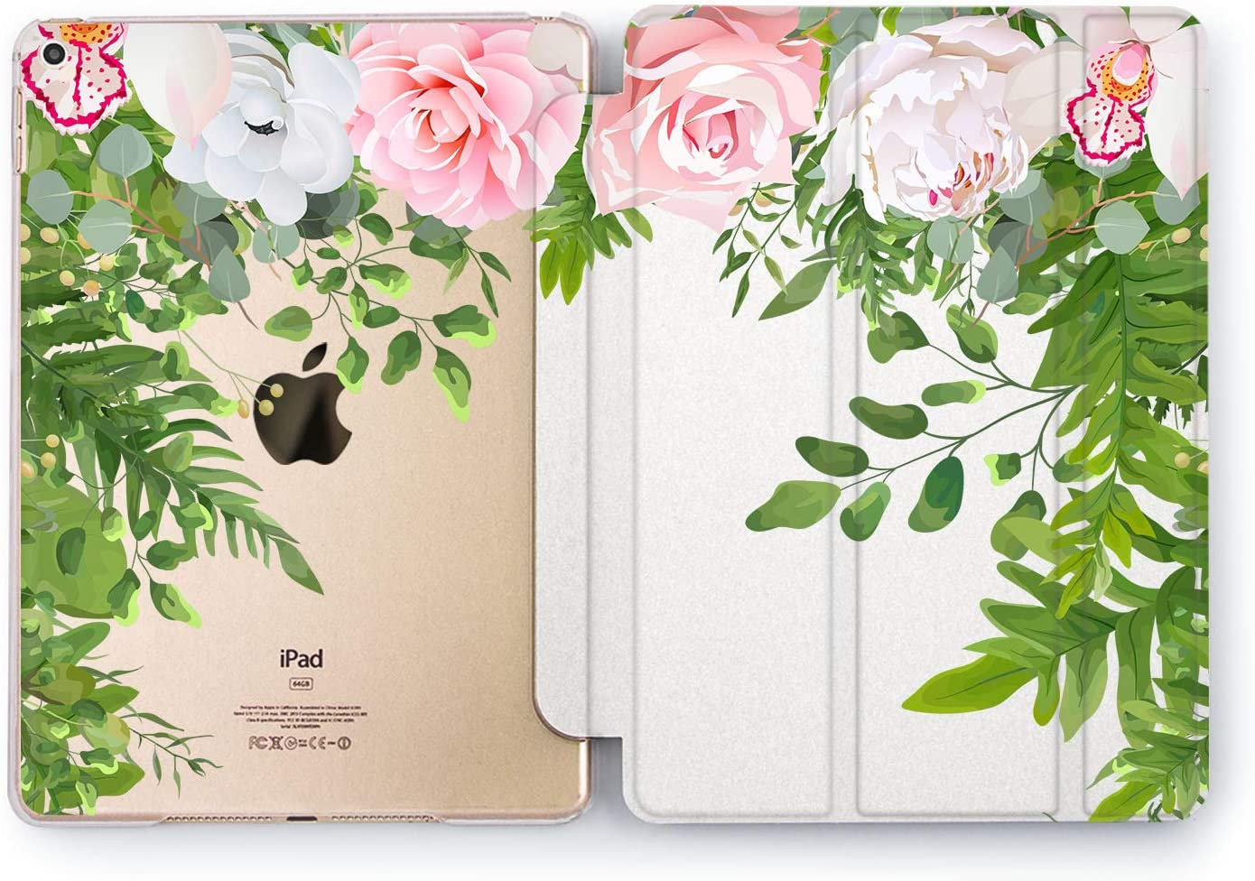 Wonder Wild Case Compatible with Apple iPad Peonies Thickets Pro 9.7 11 inch Mini 1 2 3 4 Air 2 10.5 12.9 11 10.2 5th 6th Gen Hard Cover Flowers Natural Greenery Fern Plants Girly Gentle Latest
