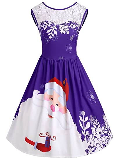 1d3074f13bc7 Dyefei Christmas Lace Insert Santa Claus Print Party Dress (Purple, Large)  at Amazon Women's Clothing store: