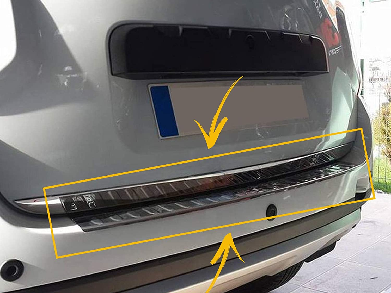 Brushed for Dacia DUSTER 2010-2017 Stainless Steel CHROME Rear Bumper Protector Sill Scratch Guard Cover