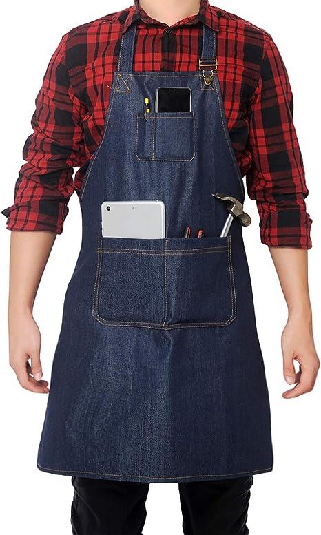 Denim Apron with Pocket Adjustable Denim Jean Kitchen Apron with 3 Pocket Unisex