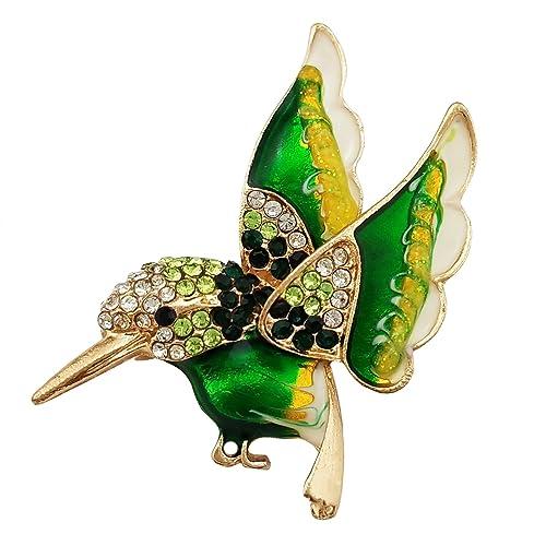 c5f88f704910c SELOVO Green Enamel Hummingbird Bird Rhinestone Crystal Brooch Pin Jewelry  Gold Tone