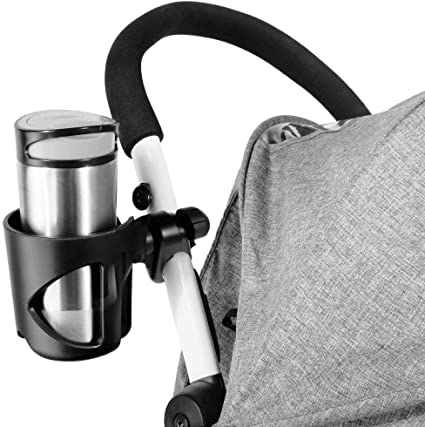Noir Porte-biberon pour Poussettes et Bicyclette Porte-Gobelet Universel avec 2 Clips Accessoires pour Poussette