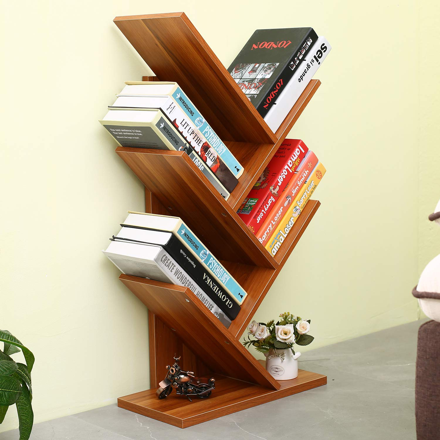 Homebi 5-Shelf Bookshelf Tree Bookcase Wood Bookshelves Storage Rack MDF Tree Shelf Display Organizer for Books,Magazines,CDs and Photo Album Holds Up to 5kgs Per Shelf,15.75 Wx7.87 Dx30.71 H