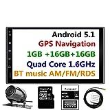 panlelo® pa09yz32, en Dash 2 Din 7 pulgadas Full HD Touch Screen Jefe Unidad Android 5.1 GPS navegación estéreo de coche Quad core 16 GB + 32 GB flash Bluetooth AM/FM/RDS Radio WiFi Cámara de copia de seguridad