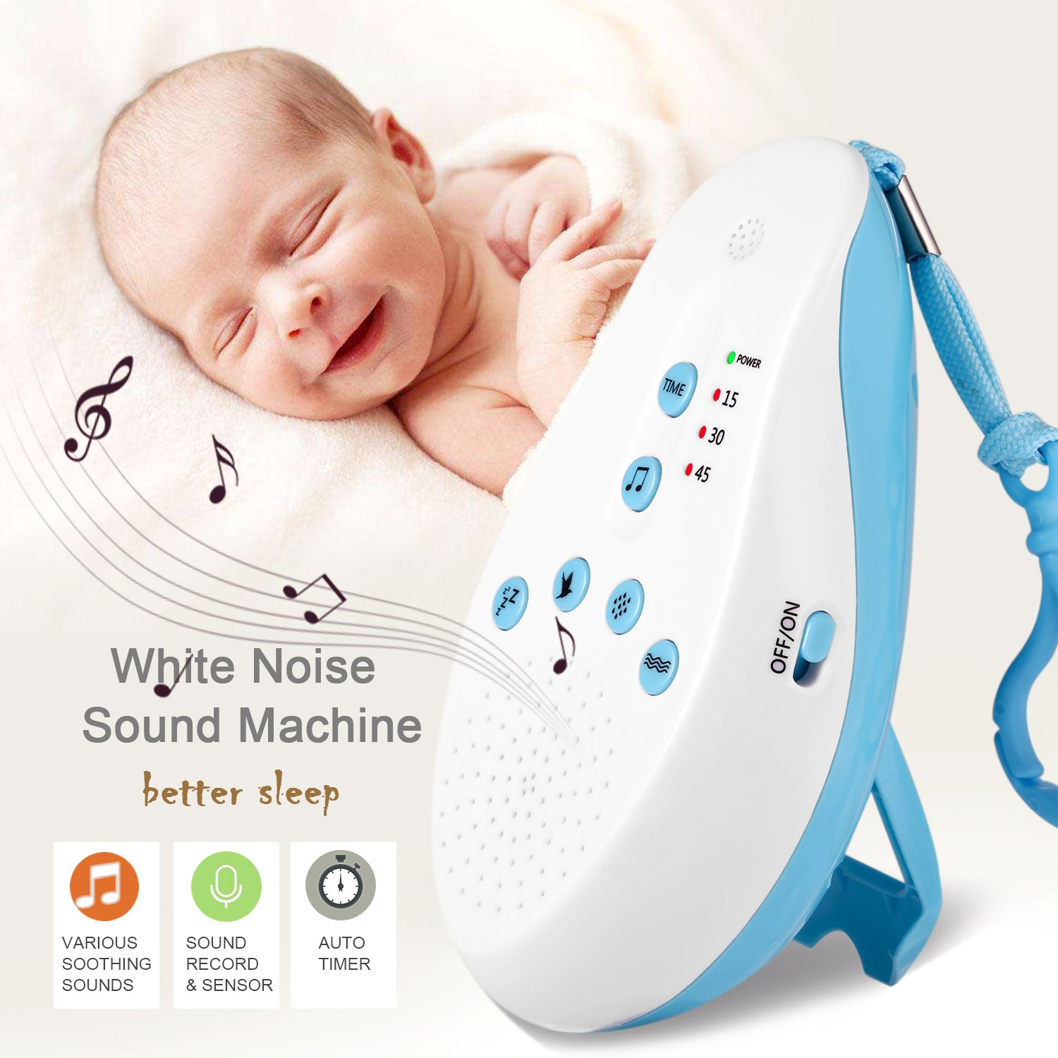 Otivs S7 White Noise Machine Sleep Sound Machine with Shut-Off Timer, Voice Recorder, Adjustable Volume, 7 Natural Soothing Therapy Sounds for Baby, Infants, Kids, Adults [Upgraded 2018]