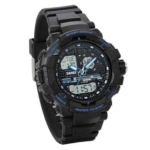 JewelryWe Reloj Digital Deportivo para Niños Estudiantes, Tiempo Dual Multifunciones, Impermeable Relojes para Aire Libre, Regalo para Chicos Adolescentes, ...