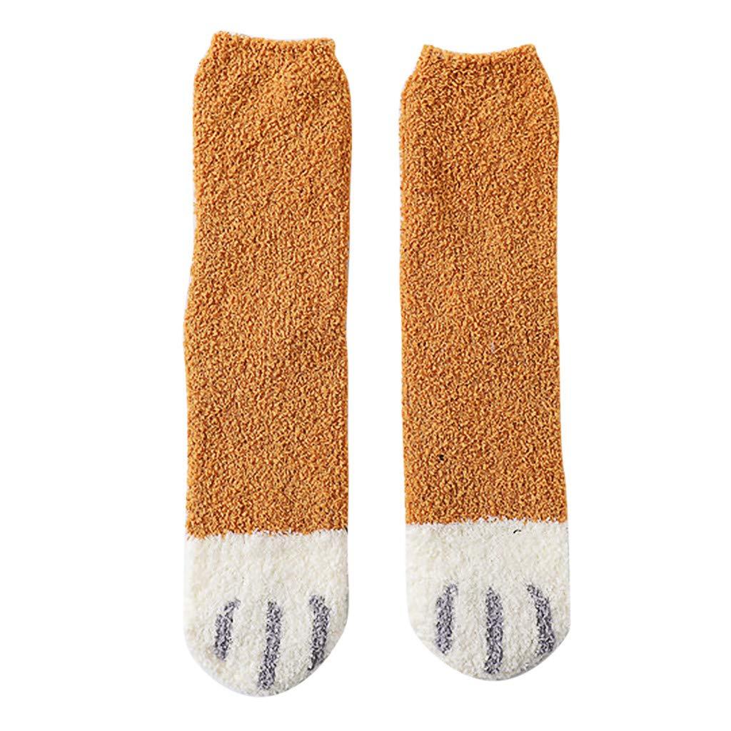 Cnebo 5 Pairs Cute Cat Dog Animal Socks Winter Warm Fuzzy Socks Thick Fluffy Ankle Socks Novelty Claw Socks for Women Girls Funny Cotton Crew Socks