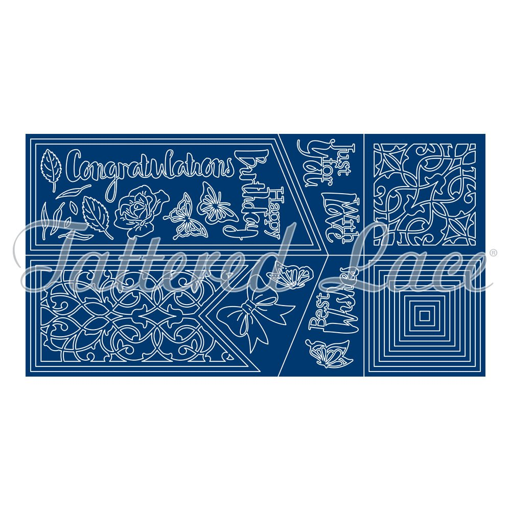 Tattered Lace Diamond Top Card Cutting Dies Set TLD0033 Includes 37-Dies