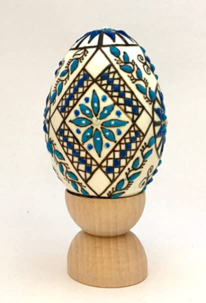 Decorated Egg The Blue Flower Motive Beeswax 3d Finish Real