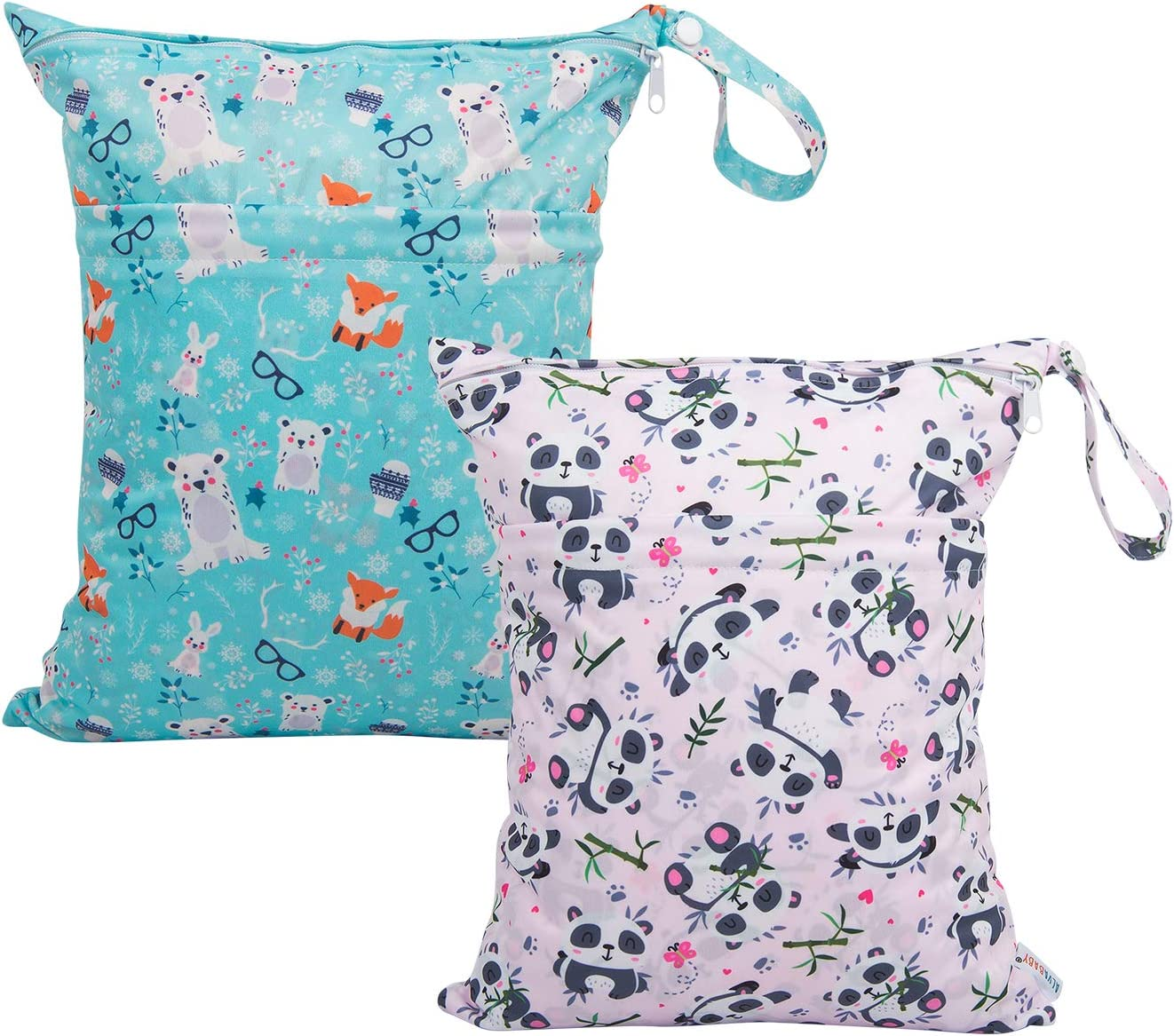 ALVABABY Cloth Diaper Wet Dry Bags Waterproof Reusable Washable with Two Zippered Pockets Travel,Beach,Pool,Daycare Soiled Baby Items Yoga Gym Bag for Swimsuits or Wet Clothes 2 Pack L-YX4345-CA