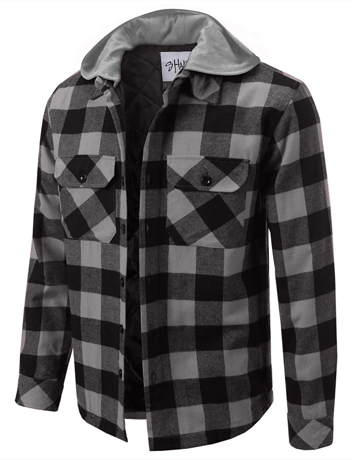 Shaka Wear Mens Hooded Flannel Shirt Jacket Quilted Iined