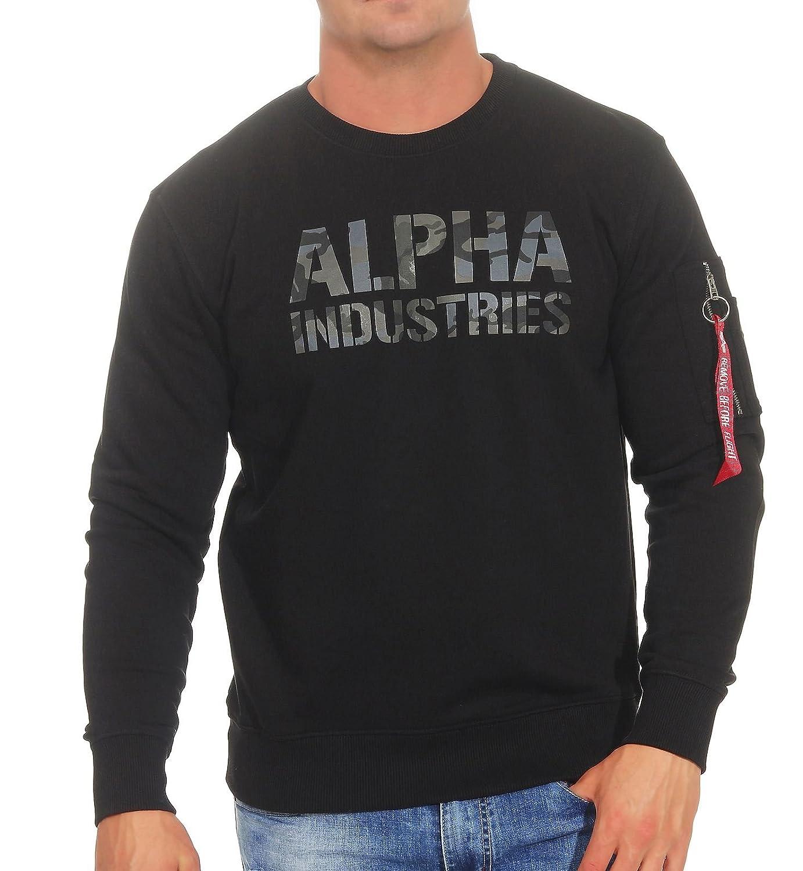 Alpha Industries Camo Print Sweatshirt Schwarz Schwarz L