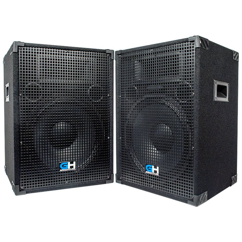 Grindhouse Speakers - GH15L-Pair - Pair of Passive 15 Inch 2-Way PA/DJ Loudspeaker Cabinets  - 800 Watt each Full Range PA/DJ Band Live Sound Speaker