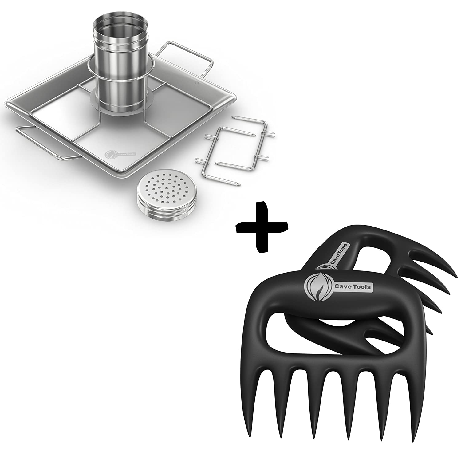 Beer Can Chicken Holder Rack + Pulled Pork Shredder Claws - Strongest BBQ Meat Forks - Shredding Handling & Carving Food - Claw Handler Set for Pulling Brisket from Grill Smoker or Slow Cooker