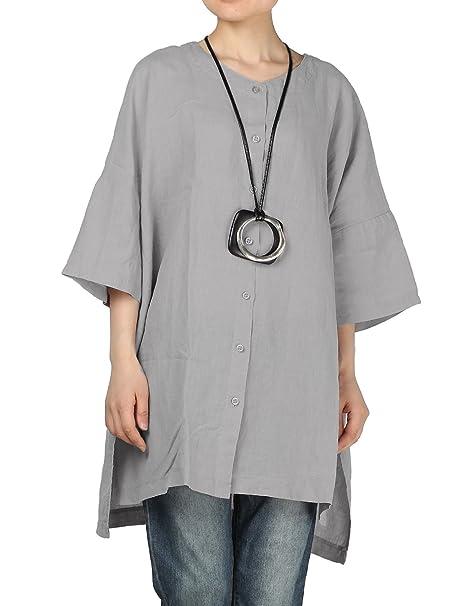 Vogstyle Mujer Lino Manga de Llamarada Tops Blusa Camisa Suelta LH004 Gris: Amazon.es: Ropa y accesorios