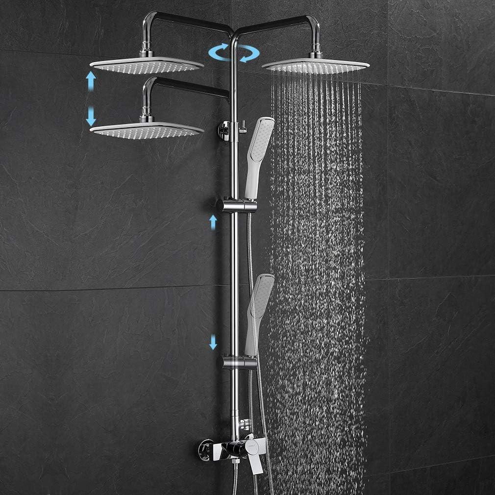 Ubeegol Set de douche avec pommeau de douche dangle et pommeau de douche Blanc