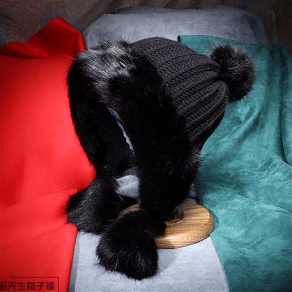 Womens encantador arrastrero elegante invierno esquí Skullies tejidas Beanie Hat ,Negro,54-60cm.
