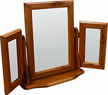 oestergaard woking antique pine triple mirror 85 x 50 x 14 cm