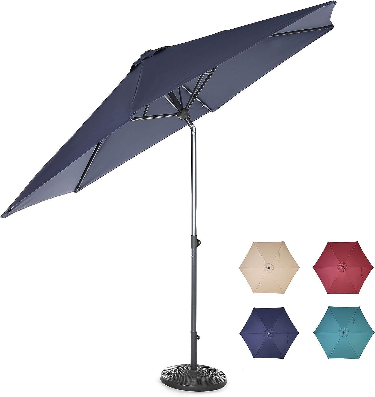 home zone living 10ft tilting patio umbrella instant up down easy crank free design push button tilt uv water resistant patio lawn deck