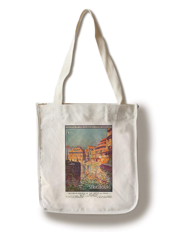 ストラスブール、フランス – View of a ManステアリングA Ship ;アルザスとロレーヌRailways Canvas Tote Bag LANT-30404-TT B01841FSMG  Canvas Tote Bag