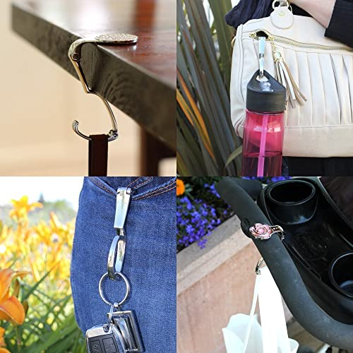 Cherries on White Foldable Retractable Purse Bag Handbag Hook Hanger Holder