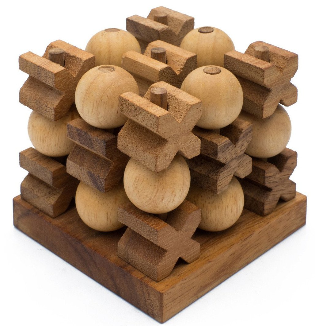 Wooden 3D Tic Tac Toe XOXO: Handmade & Organic Traditional Wood Game for Adults from SiamMandalay with SM Gift Box(Pictured)