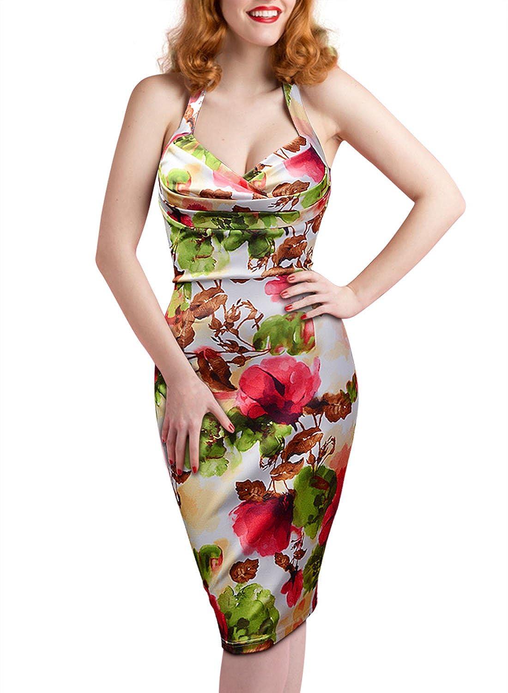 Miusol® Damen Sommerkleid Neckholder Rückenfrei Blume Patterned Cocktailkleid Knielanges Kleid Weiß Größe 36-44