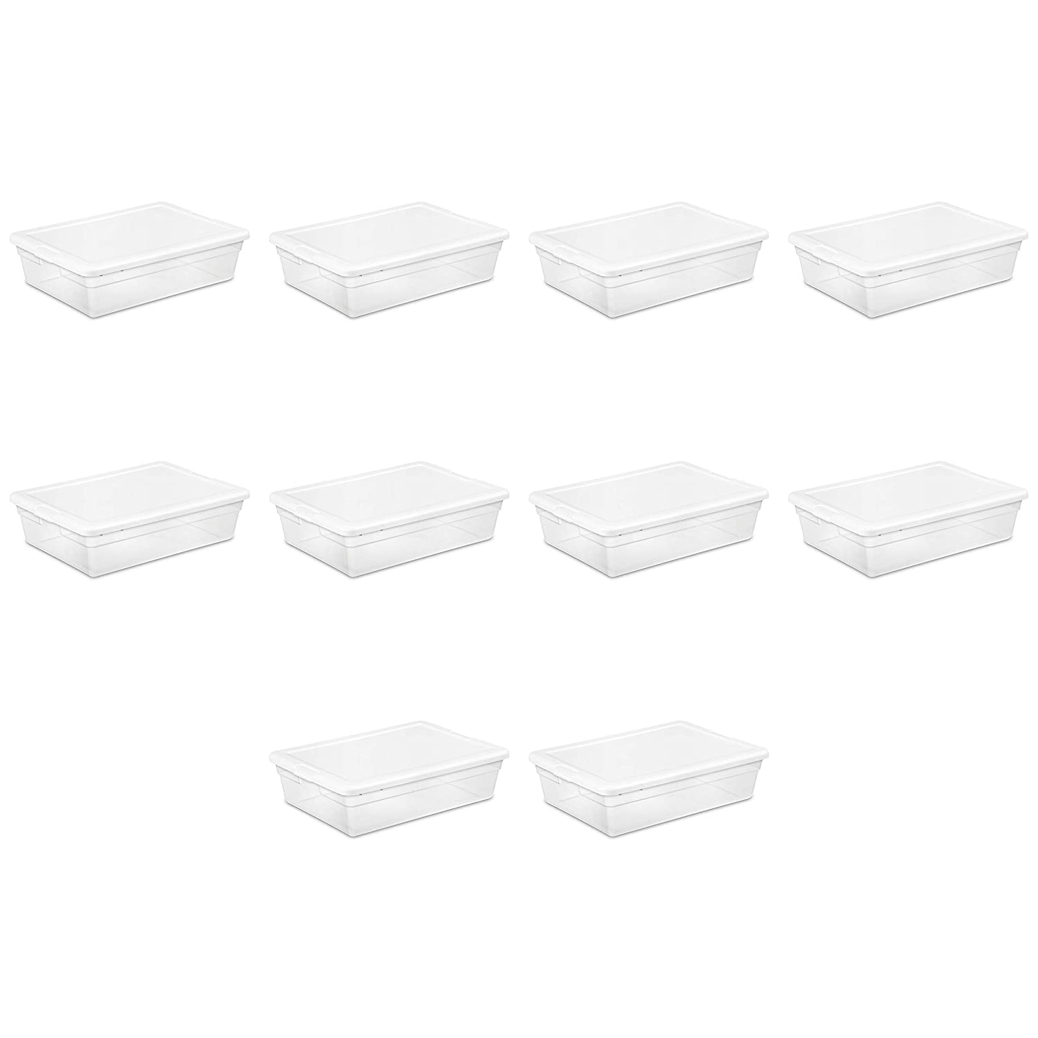 Sterilite 16558010 28 Quart/ 27 Liter Storage Box, White Lid w/ Clear Base, 10-Pack