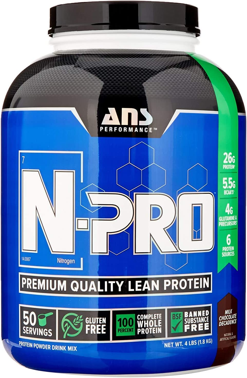 ANS Performance N-Pro, Premium Quality Banned Substance Free Lean Protein, Milk Chocolate Decadence, 4 Pound 52 Servings
